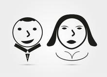 Ícone da menina e do menino no fundo branco Foto de Stock Royalty Free