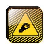 Ícone da moeda da inserção do sinal de aviso ilustração do vetor