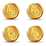 Ícone da moeda de ouro Fotos de Stock