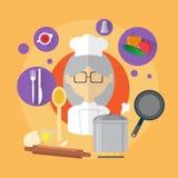 Ícone da mulher de Professional Cook Senior do cozinheiro chefe Foto de Stock