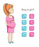 Ícone da mulher gravida e do bebê Fotos de Stock Royalty Free