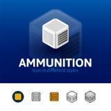 Ícone da munição no estilo diferente ilustração stock