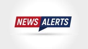 Ícone da notícia Bandeira dos alertas das notícias de última hora Molde simples liso do logotipo Ilustração isolada do vetor no f ilustração stock
