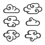 Ícone da nuvem ajustado no fundo branco Vetor Fotografia de Stock