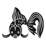 Ícone da opinião dianteira do peixe dourado, estilo simples ilustração stock