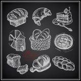 Ícone da padaria do desenho de Digitas ajustado no preto Fotografia de Stock