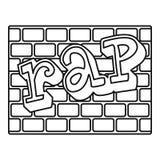 Ícone da parede de tijolos da batida, estilo do esboço ilustração do vetor
