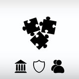 Ícone da parte dos enigmas, ilustração do vetor Estilo liso do projeto Fotos de Stock Royalty Free