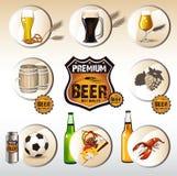 Ícone da pizza da cerveja Fotos de Stock Royalty Free