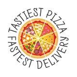 Ícone da pizza liso Fotos de Stock Royalty Free