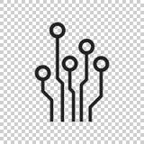 Ícone da placa de circuito Illustr liso do vetor do símbolo do esquema da tecnologia ilustração royalty free