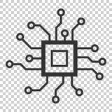 Ícone da placa de circuito no estilo liso Vetor IL do microchip da tecnologia ilustração royalty free