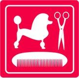 Ícone da preparação com cão, tesouras e pente de caniche ilustração royalty free