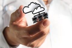 ícone da rede da nuvem do pixel 3d Foto de Stock Royalty Free