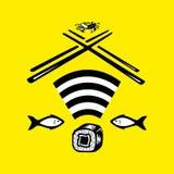 Ícone da rede wireless e prato japonês tradicional do arroz com marisco, assim como o conceito do símbolo colorido do logotipo de ilustração do vetor