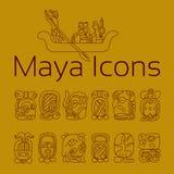 Ícone da religião do Maya, símbolos do deus do maya, ícone mexicano da religião ilustração stock