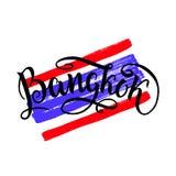Ícone da rotulação de Banguecoque, Tailândia Logotipo da cidade isolado na bandeira tailandesa crua do natinal Caligrafia do crac Imagem de Stock Royalty Free