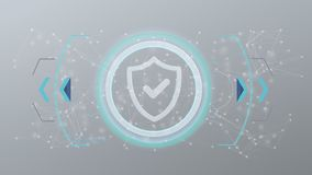 Ícone da segurança da tecnologia em um círculo em um fundo 3d Fotografia de Stock Royalty Free