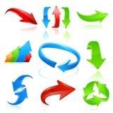 Ícone da seta ajustado nas cores Fotografia de Stock Royalty Free