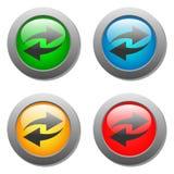 Ícone da seta ajustado nos botões de vidro Fotos de Stock