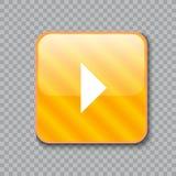 Ícone da seta direita Botão amarelo lustroso Ilustração do vetor Foto de Stock