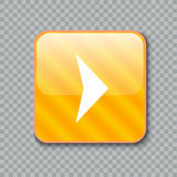 Ícone da seta direita Botão amarelo lustroso Ilustração do vetor Imagens de Stock Royalty Free