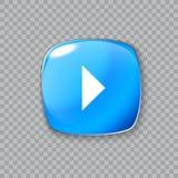 Ícone da seta direita Botão azul lustroso Ilustração do vetor Imagem de Stock Royalty Free