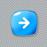 Ícone da seta direita Botão azul lustroso Ilustração do vetor Fotos de Stock Royalty Free