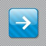 Ícone da seta direita Botão azul lustroso Ilustração do vetor Fotos de Stock