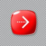 Ícone da seta direita Botão vermelho lustroso Ilustração do vetor Fotografia de Stock