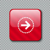 Ícone da seta direita Botão vermelho lustroso Ilustração do vetor Foto de Stock Royalty Free
