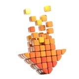 Ícone da seta feito dos cubos isolados Fotografia de Stock