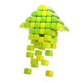 Ícone da seta feito dos cubos isolados Imagens de Stock