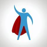 Ícone da silhueta dos desenhos animados do super-herói Sumário Fotografia de Stock Royalty Free