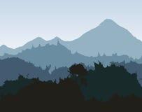 Ícone da silhueta e do respingo Projeto da paisagem Gráfico de vetor Imagens de Stock