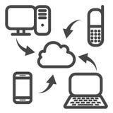 Ícone da sincronização da nuvem Fotografia de Stock