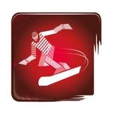 Ícone da snowboarding listrado ilustração stock