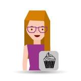 ícone da sobremesa do queque dos desenhos animados da menina Imagens de Stock