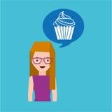 ícone da sobremesa do queque dos desenhos animados da menina Imagem de Stock Royalty Free