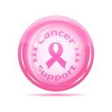 Ícone da sustentação do cancro com fita cor-de-rosa Fotografia de Stock