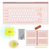Ícone da tabela do computador da mulher Fotografia de Stock Royalty Free