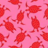 Ícone da tartaruga de mar Teste padrão sem emenda com turquesa vermelha da tartaruga em um fundo cor-de-rosa Ilustração do vetor  ilustração do vetor