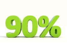 ícone da taxa de porcentagem de 90% em um fundo branco Fotografia de Stock