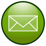 Ícone da tecla do envelope do email (verde) Imagens de Stock Royalty Free