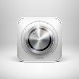 Ícone da tecnologia com o botão Textured metal Fotos de Stock Royalty Free