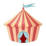 Ícone da tenda do circus no estilo dos desenhos animados no fundo branco Ilustração do vetor do estoque do símbolo do circo Fotos de Stock Royalty Free