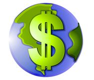 Ícone da terra do planeta do sinal de dólar Fotografia de Stock Royalty Free