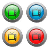 Ícone da tevê ajustado nos botões de vidro Fotos de Stock Royalty Free