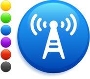 Ícone da torre de rádio na tecla redonda do Internet Imagens de Stock