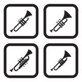 Ícone da trombeta em quatro variações Fotos de Stock Royalty Free